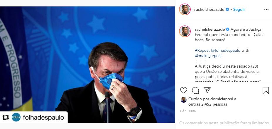 Rachel Sheherazade falou sobre o governo de Jair Bolsonaro (Foto: Reprodução/ Instagram)