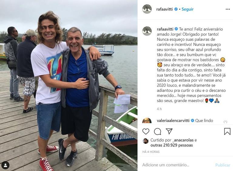 Rafael Vitti faz homenagem de aniversário emocionante a Jorge Fernando: ''Sinto falta do dia a dia'' - (Reprodução/Instagram)