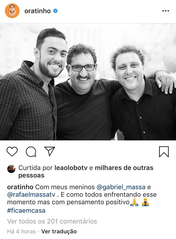 Ratinho surge ao lados dos filhos e pedem para seguidores ficarem em casa (Imagem: Instagram)