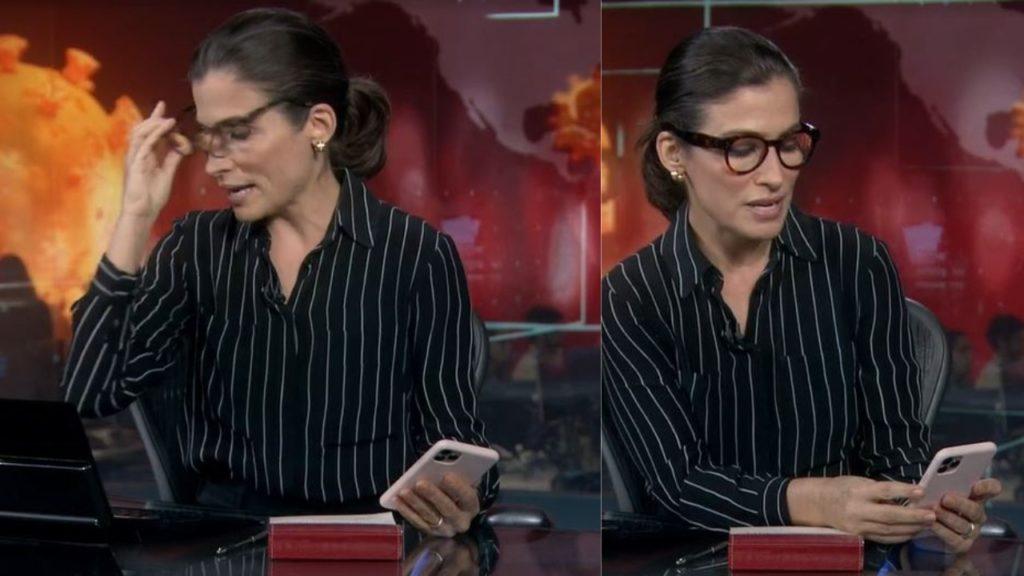 Renata Vasconcellos se atrapalhou durante uma entrada ao vivo (Foto: Reprodução/TV Globo/Montagem TV Foco)
