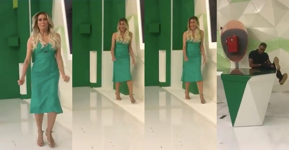 renata fan Apresentadora abandonou estúdio do Jogo Aberto (Foto: Reprodução)