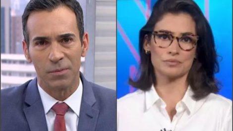 César Tralli e Renata Vasconcellos cometem 'gafes' ao vivo (Foto: Globo)