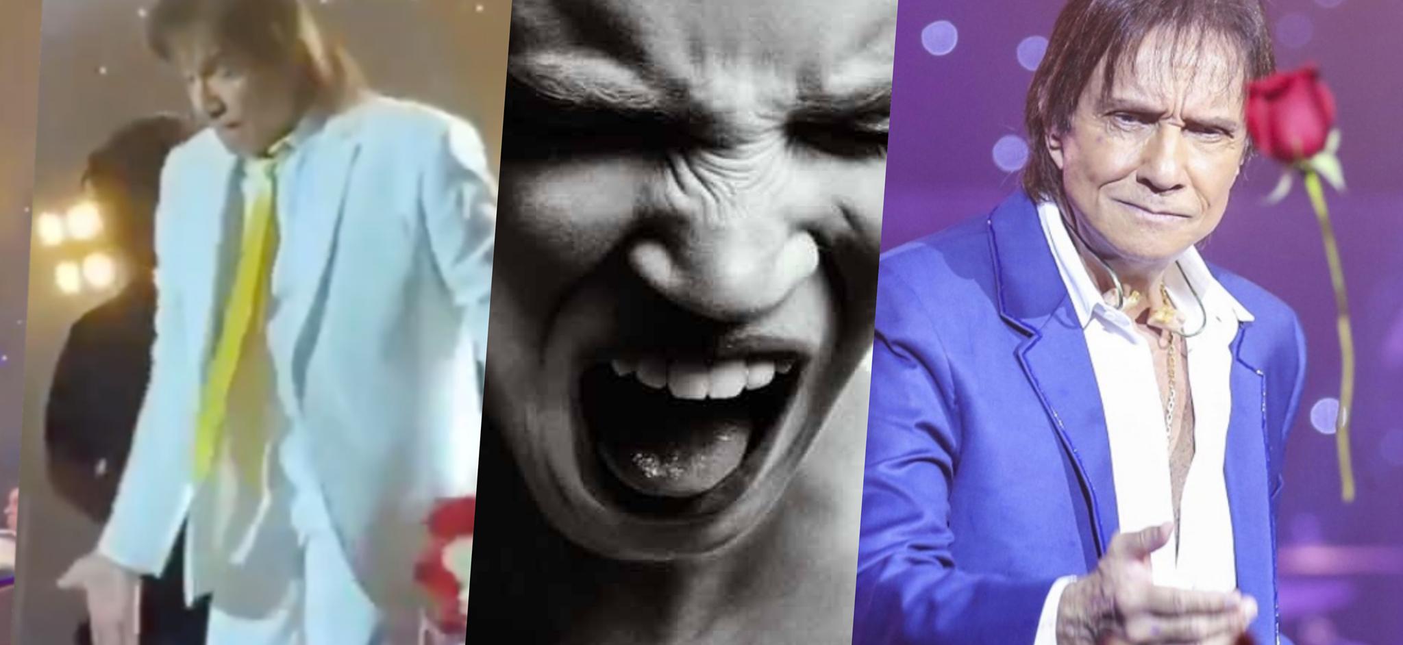 Com a relação com a Globo abalada e nervoso durante show, Roberto Carlos também foi acusado de ingratidão por famoso cantor (Montagem: TV Foco)
