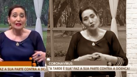 A apresentadora Sonia Abrão da RedeTV tirou a bancada do A Tarde é Sua e explicou situação ao vivo (Foto reprodução)
