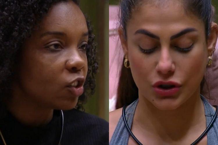 Thelma e Mari tiveram uma discussão pós prova do líder no BBB (Foto: Reprodução/ GloboPlay)