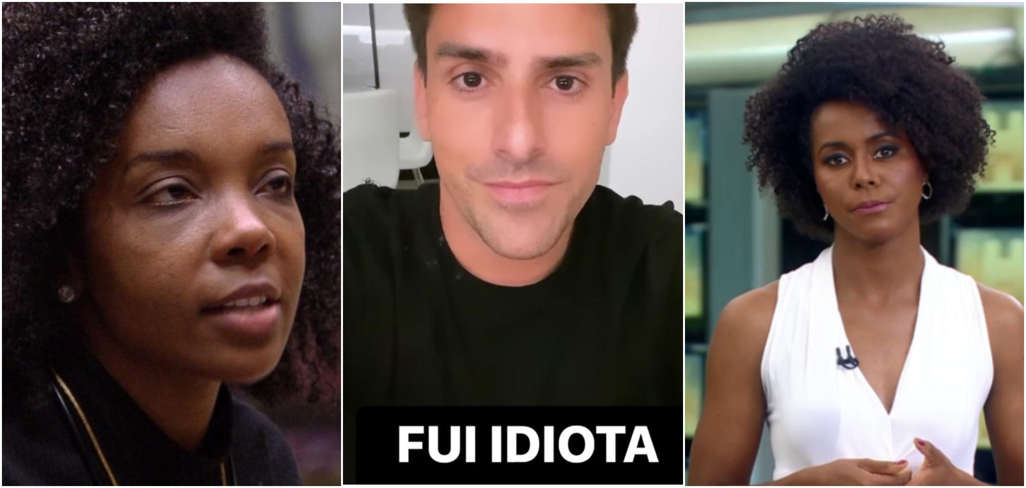 band Rodrigo Branco foi acusado de racismo após comentários sobre Thelma, do BBB 20, e a apresentadora da Globo, Maju Coutinho (Reprodução)