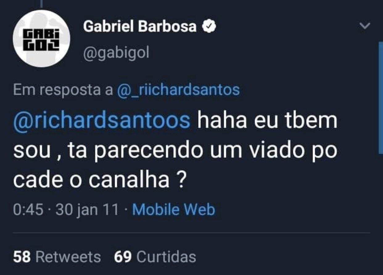 Tuíte antigo onde Gabigol é homofóbico (Foto: reprodução/Twitter)