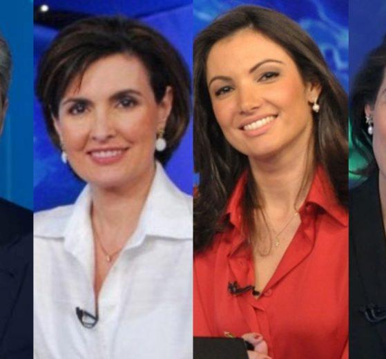 William Bonner já trabalhou com Fátima Bernardes, Patrícia Poeta e Renata Vasconcellos na bancada (Foto: Reprodução/TV Globo/Montagem TV Foco)