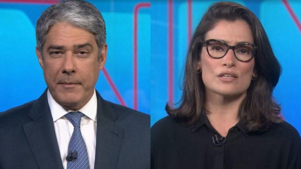 Renata Vasconcellos desmentiram Jair Bolsonaro no Jornal Nacional (Foto: Reprodução/TV Globo/Montagem TV Foco)