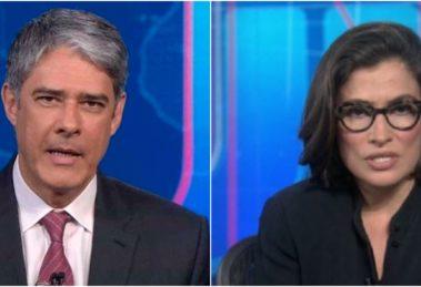 Os apresentadores do Jornal Nacional, da Globo, William Bonner e Renata Vasconcellos têm sido elogiado pelo internautas (Reprodução)
