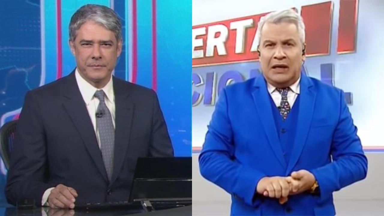 Sikêra Jr se revoltou com o Jornal Nacional de William Bonner (Foto: Reprodução/TV Globo/RedeTV!/Montagem TV Foco)