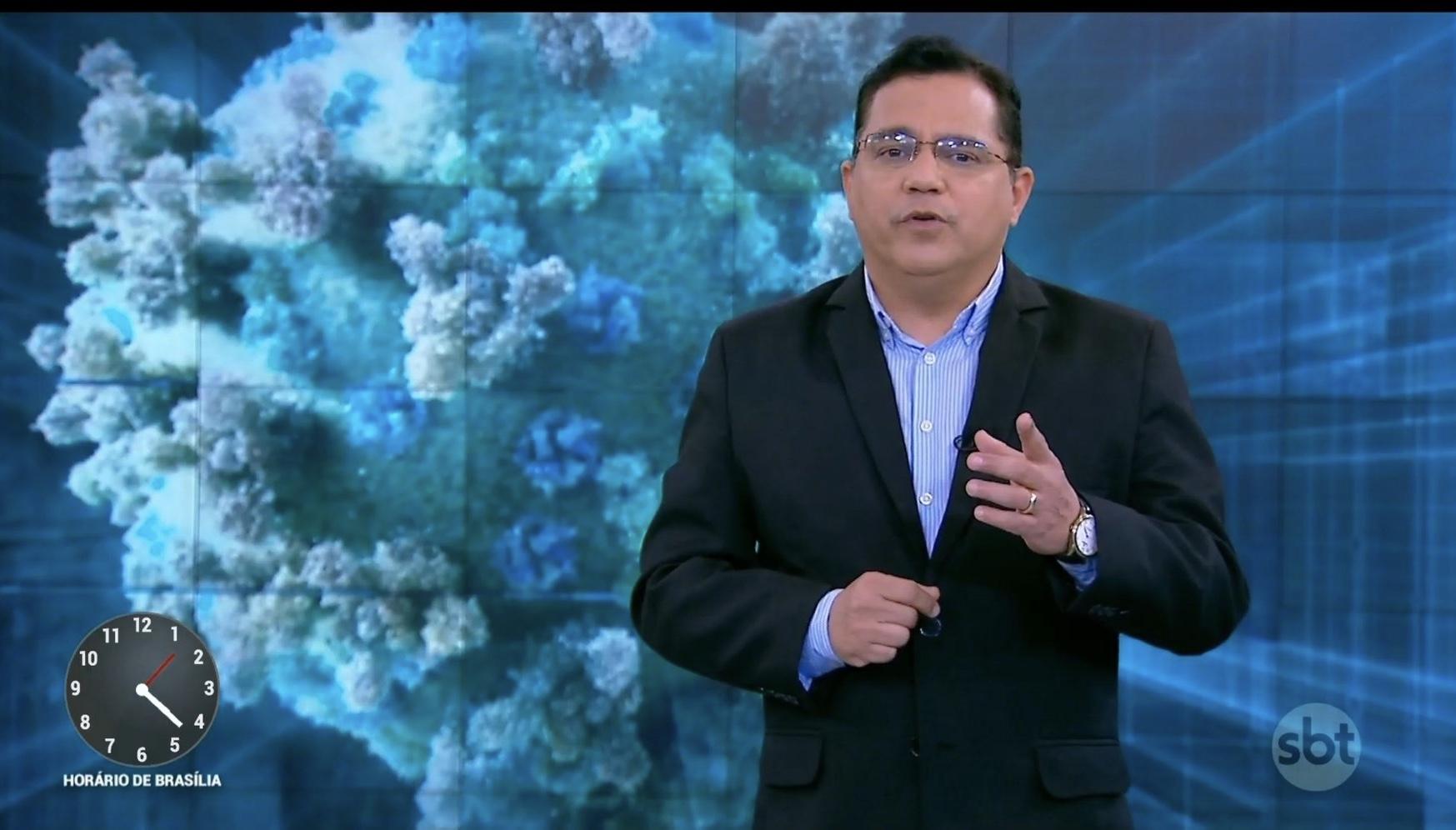 Marcelo Bittencourt apresentando o Primeiro Impacto, do SBT