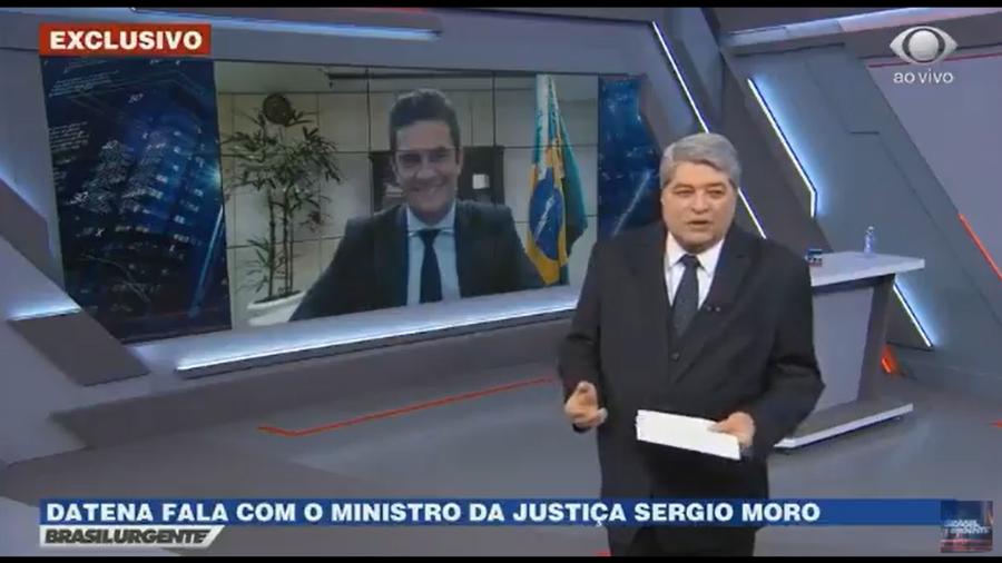 Datena acabou cometendo gafe com Sérgio Moro no Brasil Urgente (Foto: Divulgação)