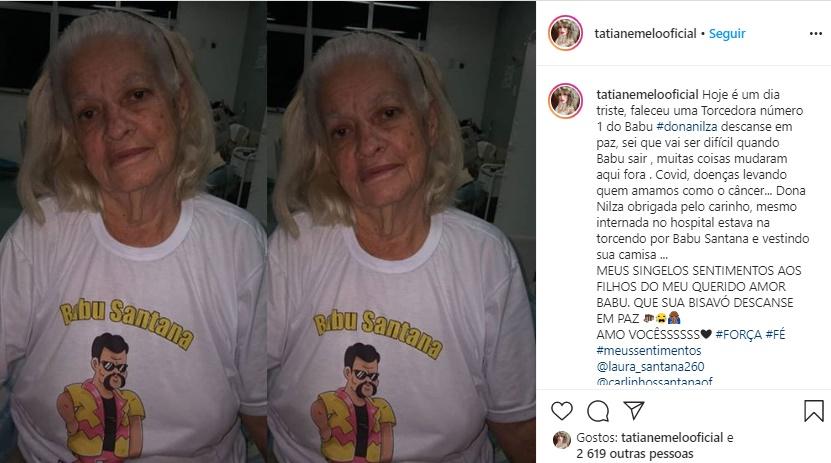 Dona Nilza: Publicação de Tatiane Melo (Foto: Reprodução)