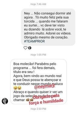 Print da conversa de Neymar e Felipe Prior (Foto: Reprodução)