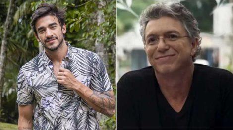 Guilherme Napolitano aparece com o pai e fãs apontam semelhança com Boninho. (Foto: Montagem/Divulgação)