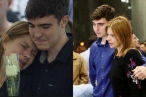 Filho de Gugu Liberato, ao lado de sua mãe no enterro do apresentador da Record (Foto: Reprodução/Montagem TV Foco)