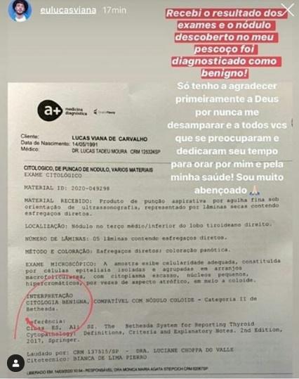Imagem do exame publicado por Lucas Viana (Foto: Reprodução)