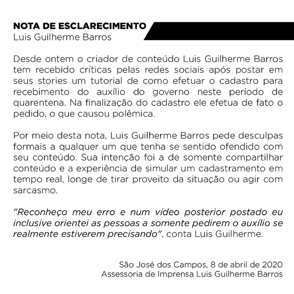 Nota de esclarecimento de Luis Guilherme Barros sobre pedido do auxílio emergencial (Foto: Reprodução)