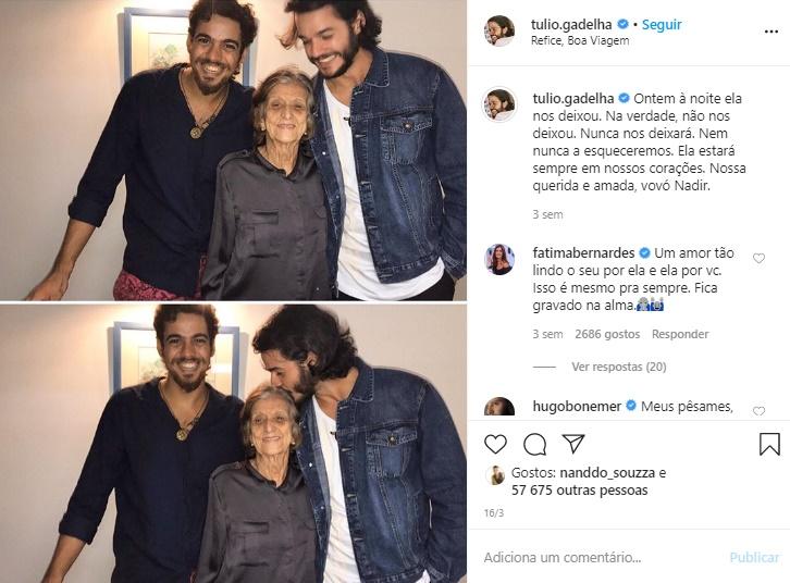Fátima Bernardes: Avó de Túlio Gadêlha, Nadir, que morreu mês passado (Foto: Reprodução)
