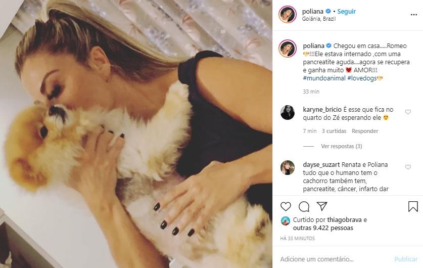 Publicação de Poliana Rocha onde ela aparece com o cachorrinho Romeo (Foto: Reprodução)