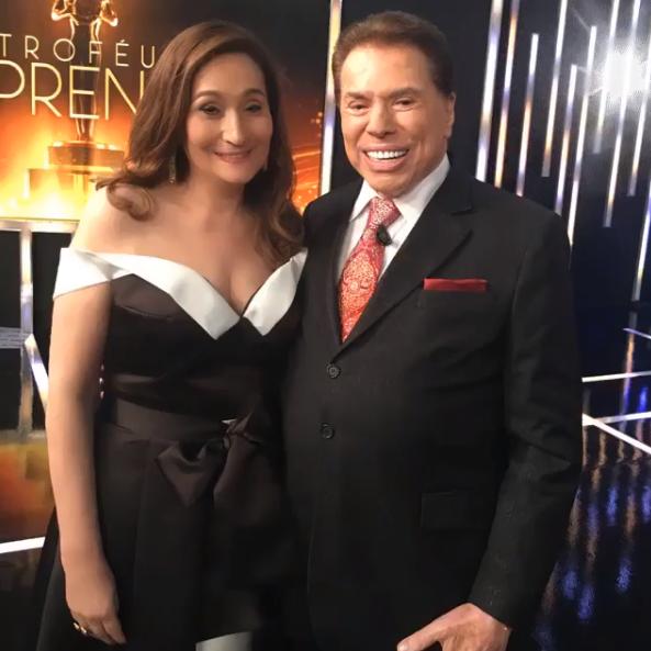 Sonia Abrão e Silvio Santos no Troféu Imprensa (Foto montagem: TV Foco)