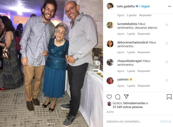 Tia de Túlio Gadêlha morreu devido ao coronavírus (Foto: Reprodução)