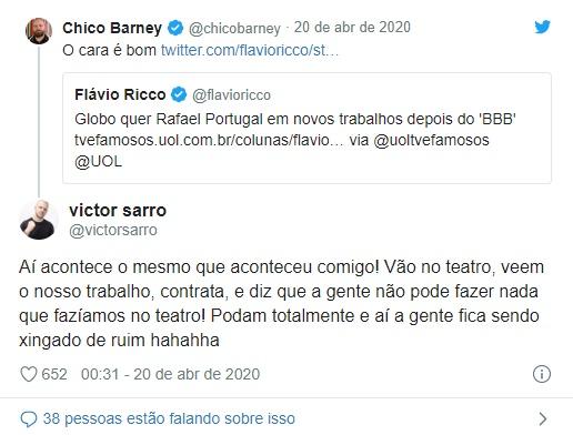 Comentário polêmico de Victor Sarro contra a Globo (Foto: Reprodução)