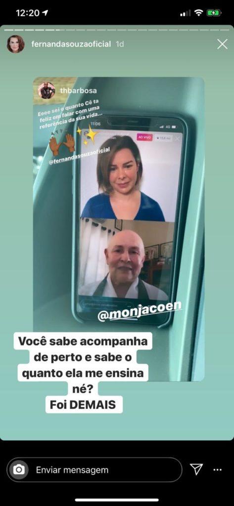 Fernanda Souza chorou ao vivo de emoção com entrevista com monja (Foto reprodução)