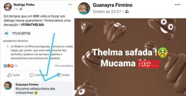Guanayra atacou Thelma em suas redes sociais (Foto: reprodução/Facebook)