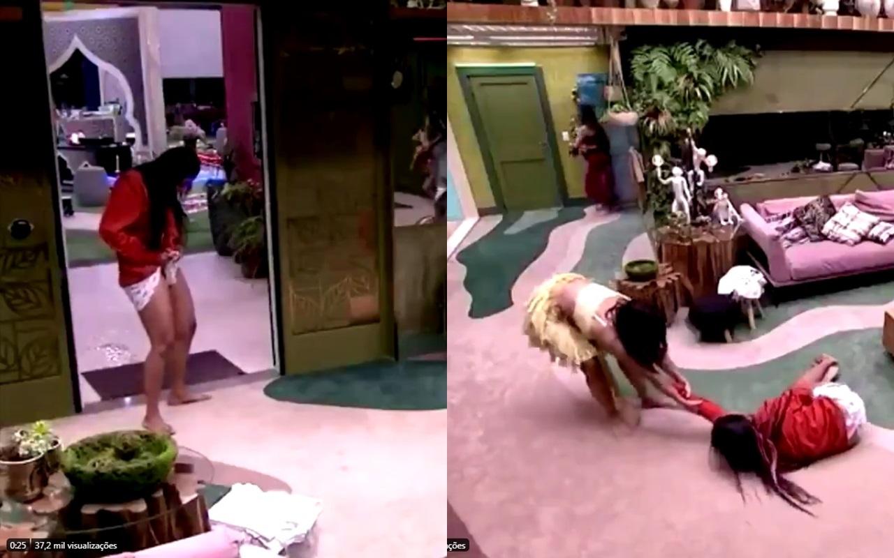 BBB20: Flayslane dá vexame e mija no chão da sala (Foto: reprodução/Globoplay)