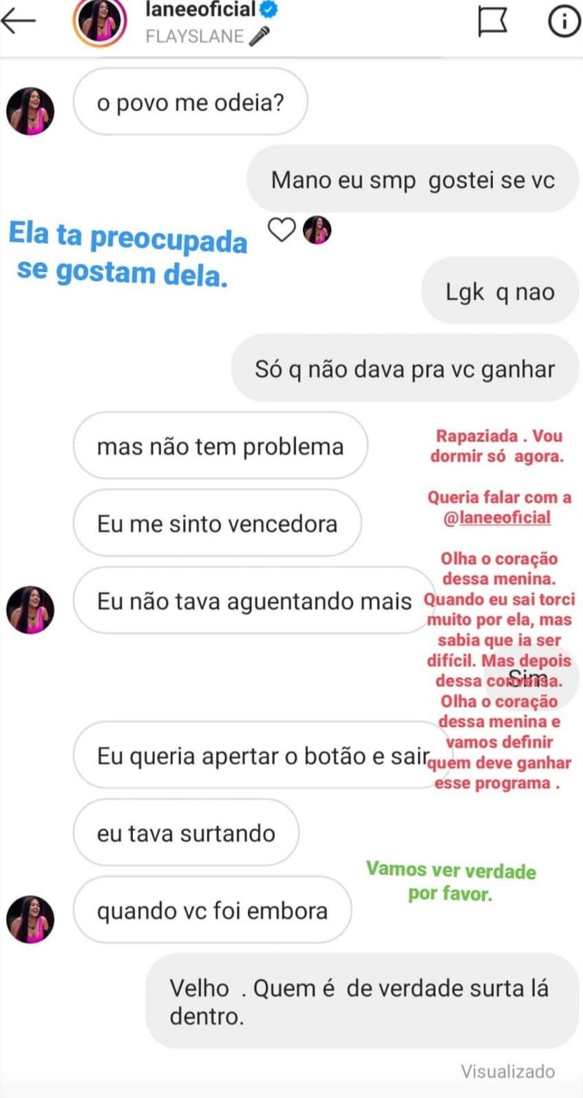 Flayslane teve uma conversa com Felipe Prior divulgada após ser eliminada do BBB20 (Foto: reprodução/Instagram: @felipeprior)