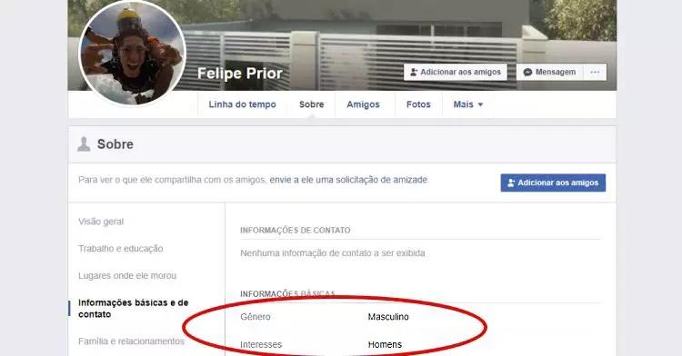 O Facebook do arquiteto mostrava o interesse em rapazes e páginas LGBTQ+ (Foto: reprodução)