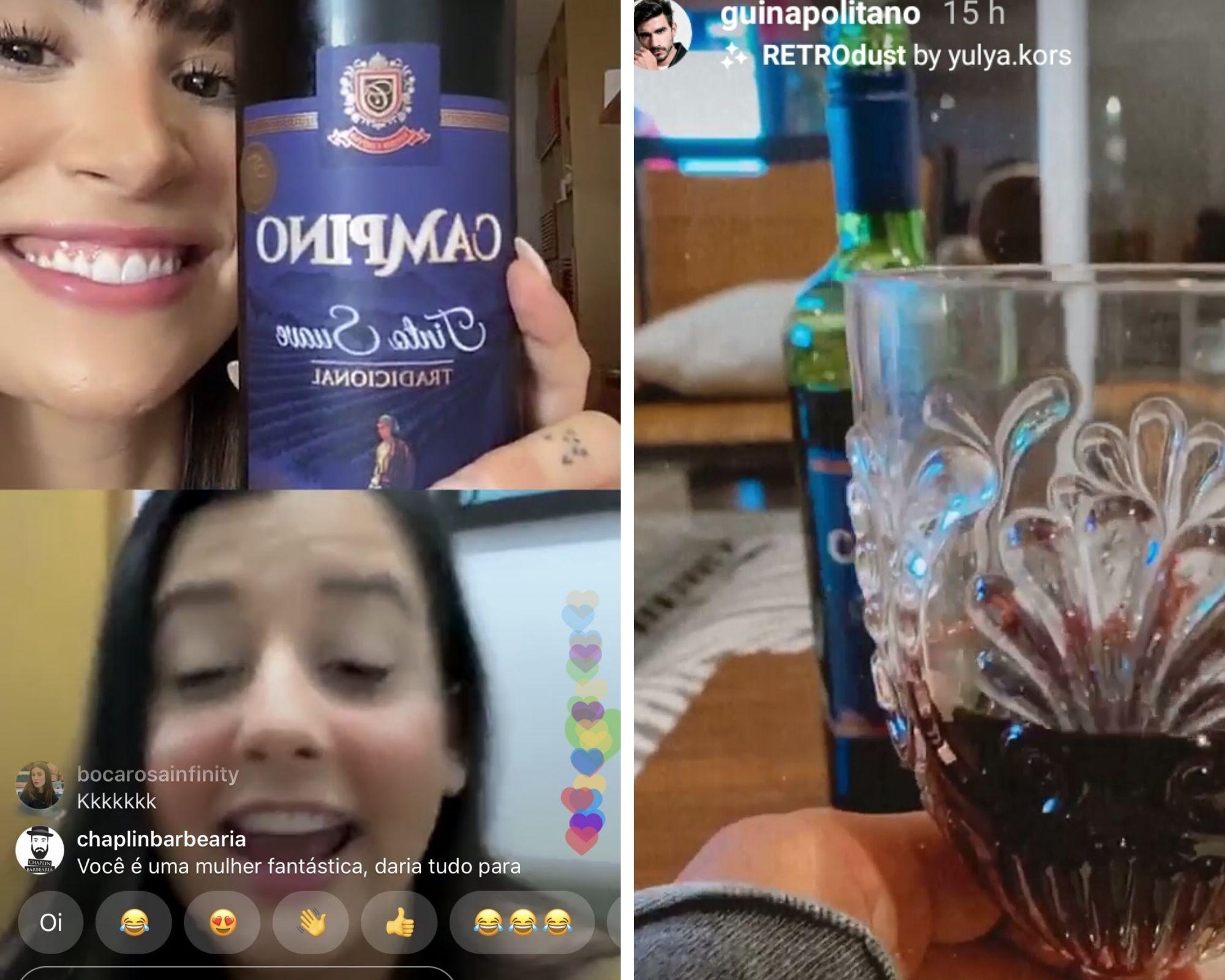 Bianca Andrade mostra vinho durante live e Gui surge bebendo a mesma marca (Foto: Reprodução/Instagram)
