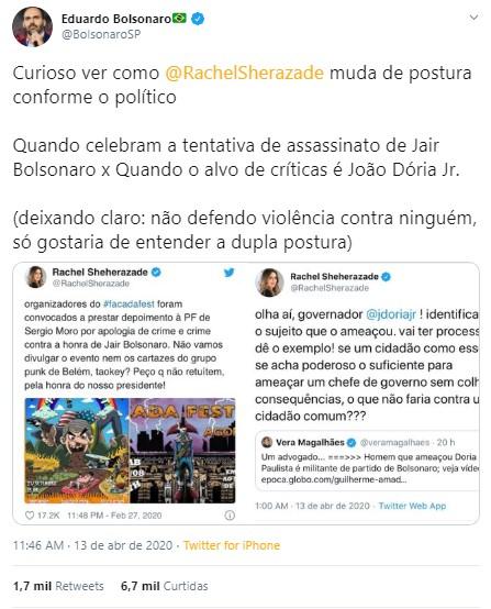 Eduardo atacou Sheherazade nas redes sociais (Foto: Reprodução/Twitter)