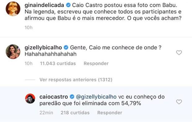 Caio Castro humilha Gizelly do BBB20 (Foto: Reprodução)