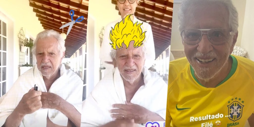 Carlos Alberto de Nóbrega surgiu no Instagram da esposa cortando os cabelos (Foto montagem)