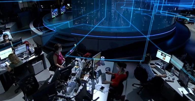 Equipe do Jornal Nacional, da Globo, teve que trabalhar usando máscaras (Foto: Reprodução/ Globo)
