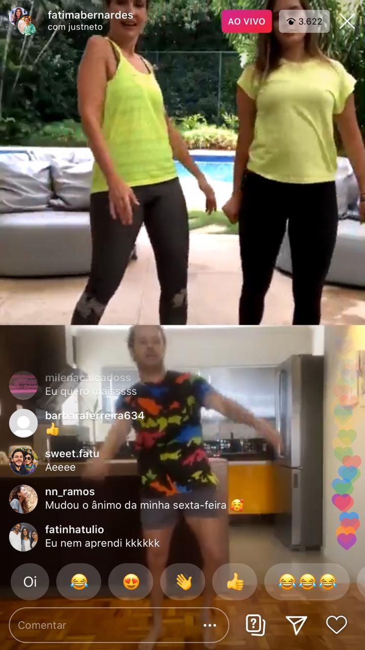 A contratada da emissora Globo chamou atenção ao dançar ao lado de sua filha e de William Bonner (Foto: Reprodução)