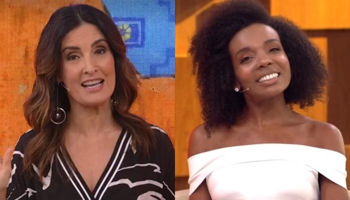 Fátima Bernardes e Thelma Assis no Encontro, que teve audiência recorde (Foto: Reprodução/Globo)