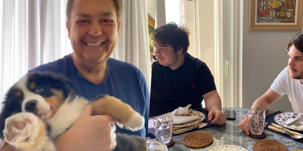 Faustão surgiu com o mais novo membro da família no colo (Foto montagem: TV Foco)