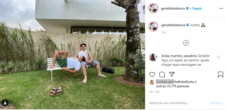 Geraldo Luís surgiu ao lado do filho bonitão (Foto: Reprodução/ Instagram)
