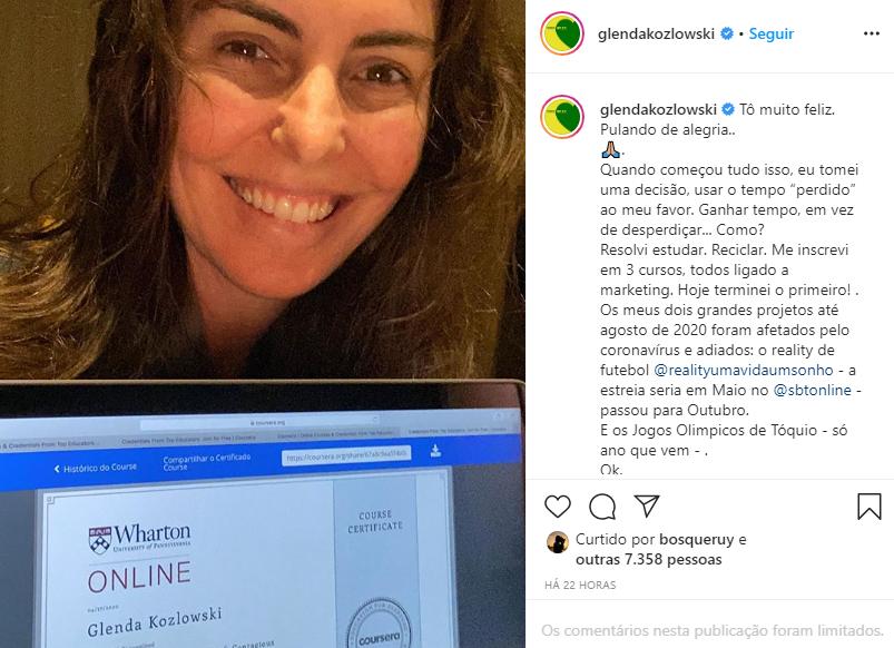 Glenda Kozlowski encontrou uma alternativa para driblar a quarentena (Foto: Reprodução/ Instagram)