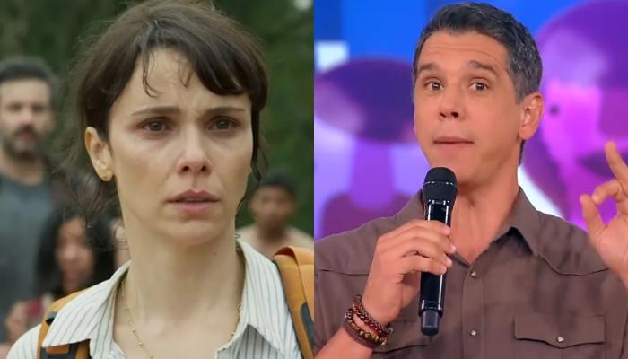 Débora Falabella na série Aruanas e Marcio Garcia no Tamanho Família; Globo apelou para Globoplay e reprises (Foto: Reprodução/Globo/Montagem TV Foco)