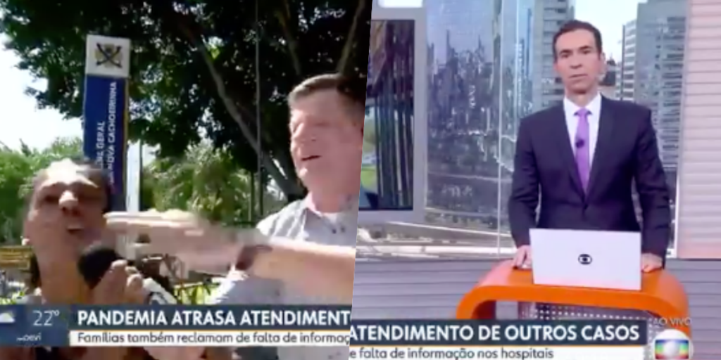 Ao vivo, Globo teve link invadido por moça que detonou a emissora e apoiou Bolsonaro (Foto montagem: TV Foco)
