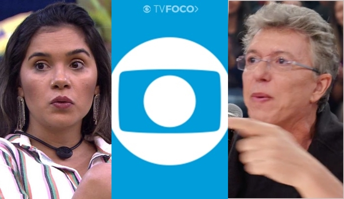 Gizelly Bicalho e Boninho, diretor do BBB20; sister teve eliminação anunciada em site de canal da Globo (Foto: Reprodução/Globo/Montagem)