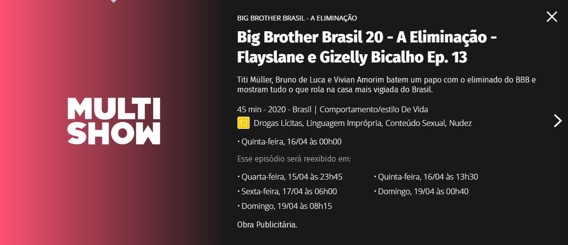 Site do Multishow apontou Gizelly como eliminada do BBB20 (Foto: Reprodução)