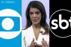 Globo cortou link ao vivo no RJ1, apresentado por Mariana Gross, após citação à apresentadora do SBT (Foto: Reprodução/Globo/SBT/Montagem)