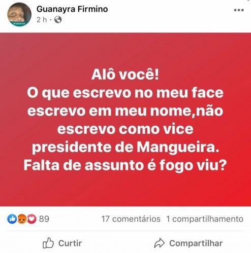 Guanayara se pronunciou sobre as acusações (Foto: reprodução/Facebook)