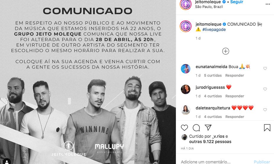 jeito Moleque muda data de live para não bater de frente com o antigo marido da ex-atriz da Globo (Foto: Reprodução)